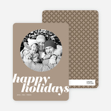 Modern Happy Holidays Photo Card - Cappuccino