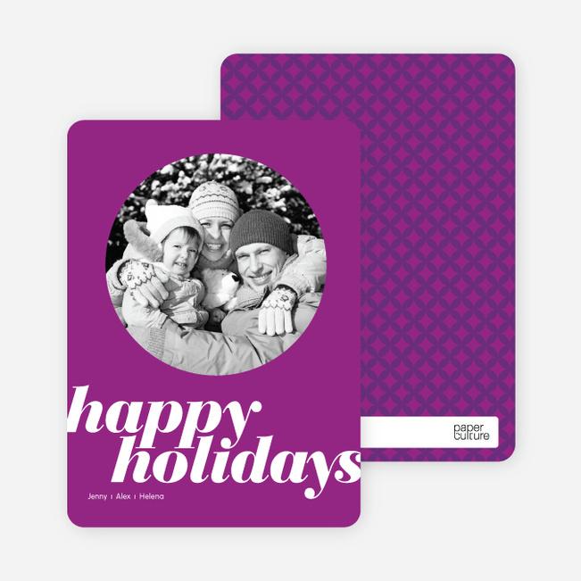 Modern Happy Holidays Photo Card - Violet