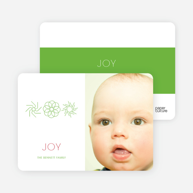Modern Holiday Joy Photo Cards - Apple Green