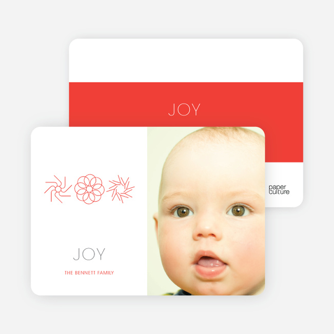 Modern Holiday Photo Cards: Joy - Cherry Red