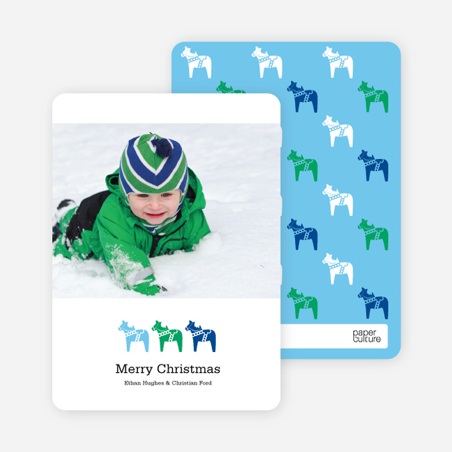 Modern Horse Themed Christmas Cards - Emerald