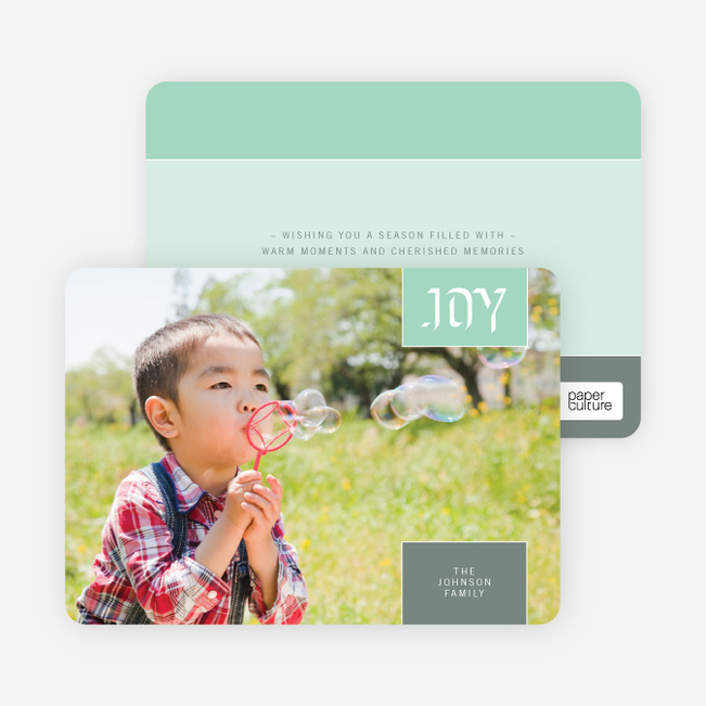 Modern Holiday Photo Cards: Joy - Wintergreen