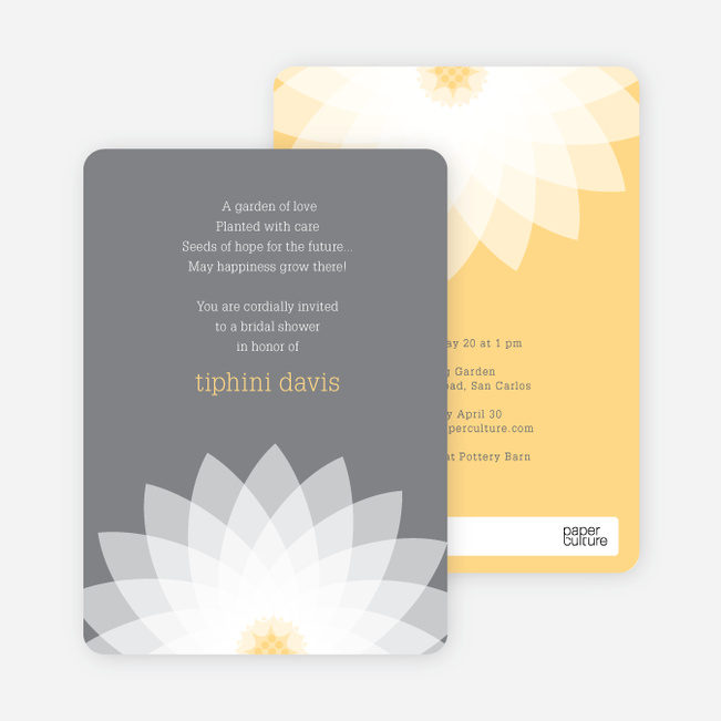 Modern Lily Lotus Bridal Shower Invitations - Yellow