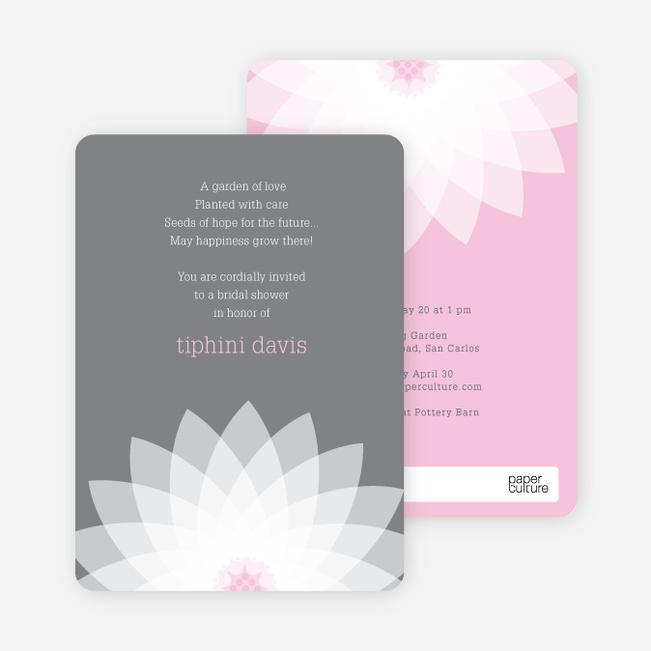 Modern Lily Lotus Bridal Shower Invitations - Pink
