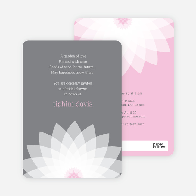 Modern Lily Lotus Bridal Shower Invitations - Pink