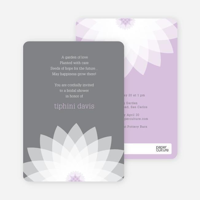 Modern Lily Lotus Bridal Shower Invitations - Purple