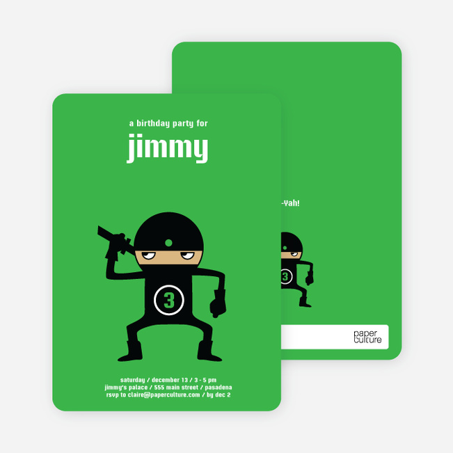 Modern Ninja Kids Birthday Invitation - Bright Green