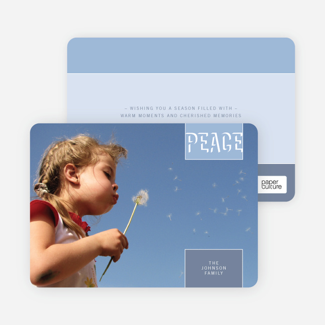 Modern Holiday Photo Cards: Peace - Celestial Blue