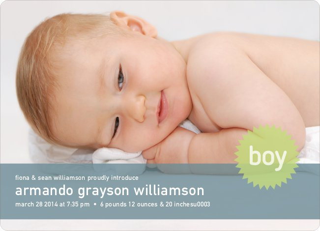 Modern Photo Announcements: Banner and Star - Baby Blue