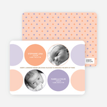 Modern Twin Birth Announcements with 2 Photos - Orange Sherbet