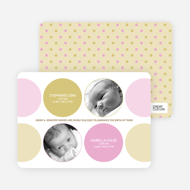 Modern Twin Birth Announcements with 2 Photos - Carnation