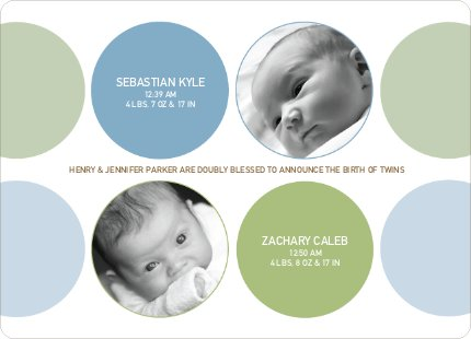Modern Twin Birth Announcements with 2 Photos - Pistachio