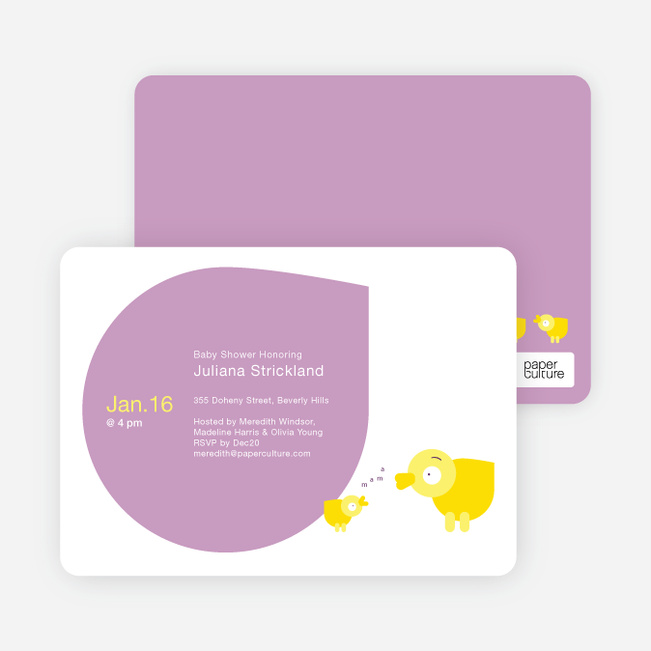 Momma and Baby Duck Baby Shower Invitations - Lilac