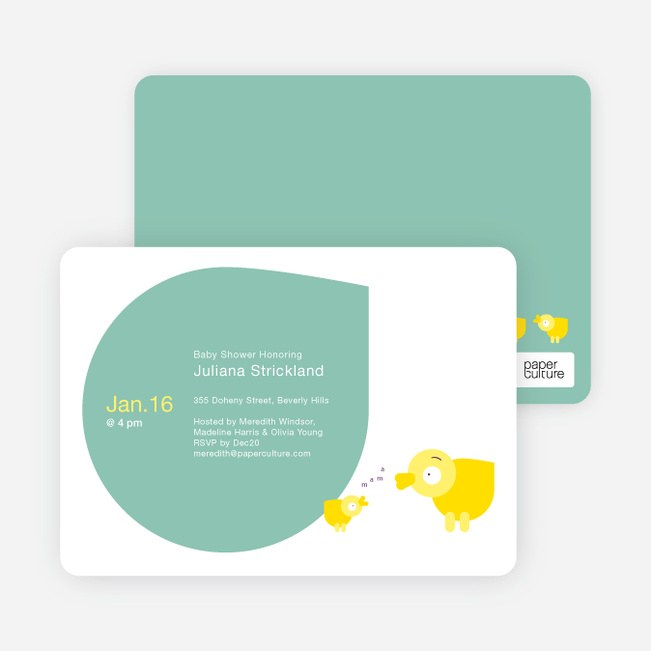 Momma and Baby Duck Baby Shower Invitations - Turquoise