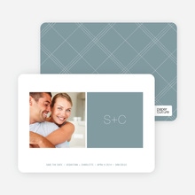 Monogram Save the Date Cards - Dusty Blue