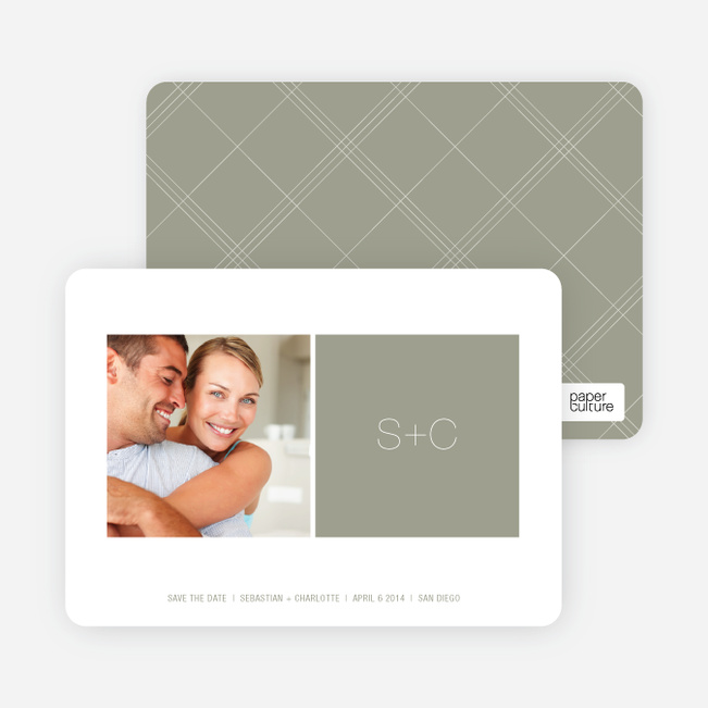 Monogram Save the Date Cards - Sage