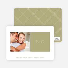 Monogram Save the Date Cards - Celadon