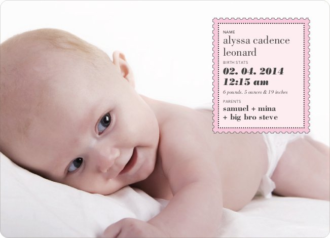 Neither Rain Nor Sleet Nor Snow Nor Hail Baby Announcements - Carnation