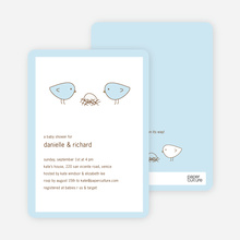 Nesting Birds Baby Shower Invitation - Baby Blue