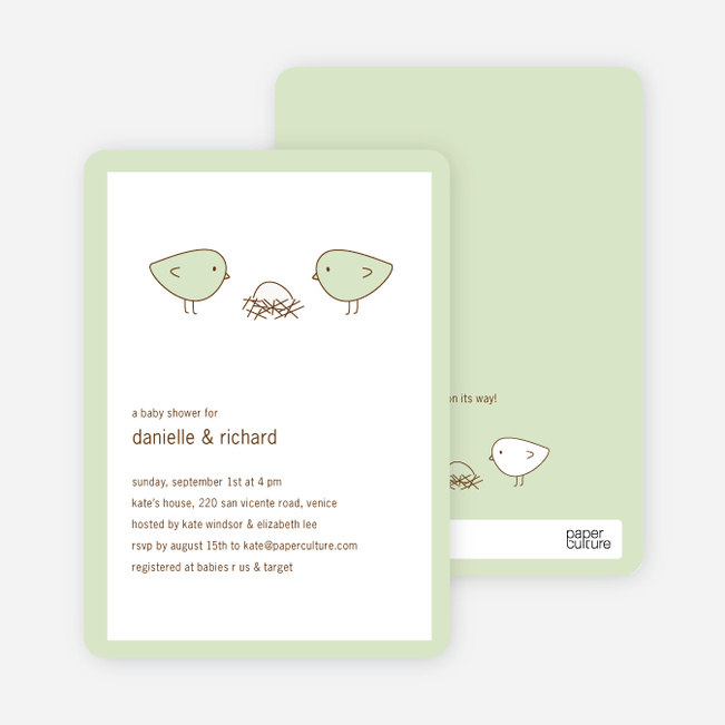 Nesting Birds Baby Shower Invitation - Misty Green