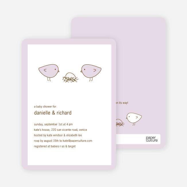 Nesting Birds Baby Shower Invitation - Light Lavender