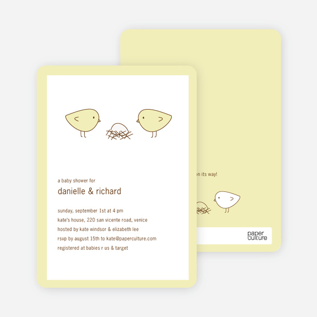 Nesting Birds Baby Shower Invitation - Fluffy Yellow