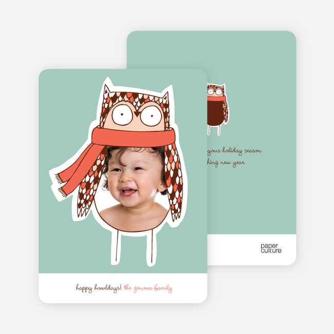 Ogling Owl Holiday Photo Cards - Orange Spice