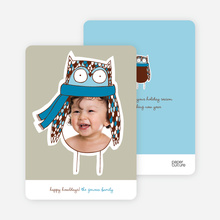 Ogling Owl Holiday Photo Cards - Peacock Blue