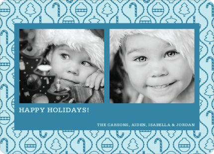 Ornament Border Holiday Photo Cards - Cobalt