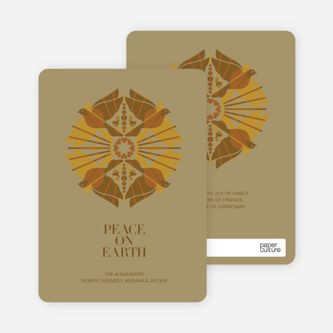 Holiday Cards: Peace on Earth Doves - Espresso