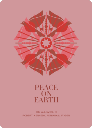 Peace on Earth Doves: Holiday Cards - Burgundy