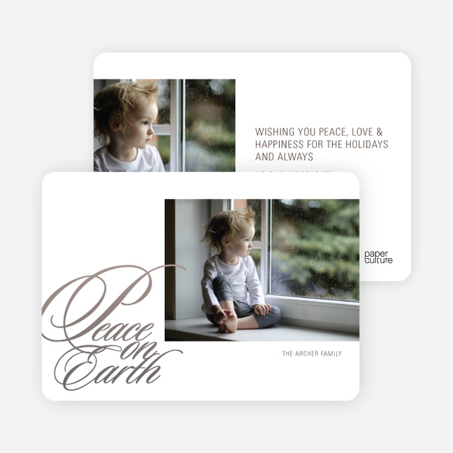 Peace on Earth Holiday Photo Cards - Oyster