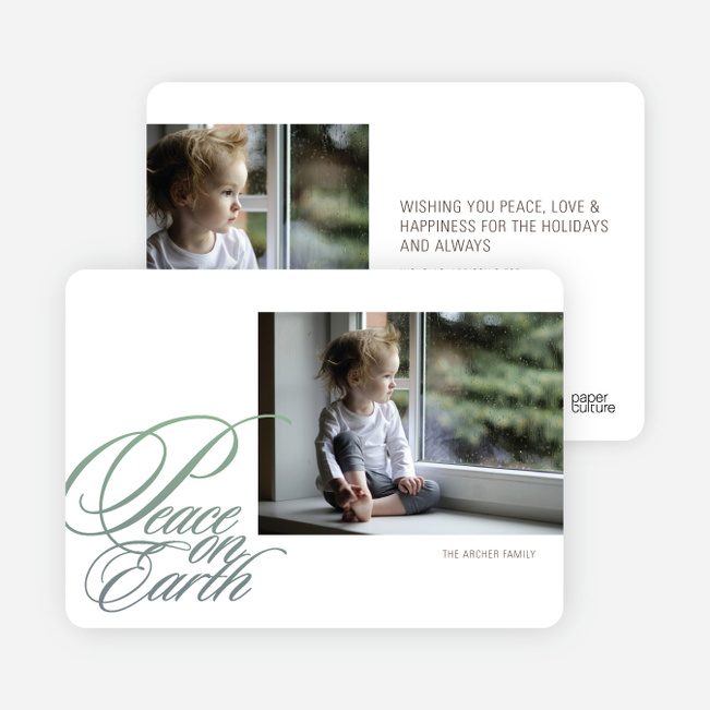 Peace on Earth Holiday Photo Cards - Celadon