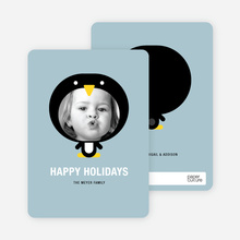 Penguin Face Holiday Card - Dusty Blue