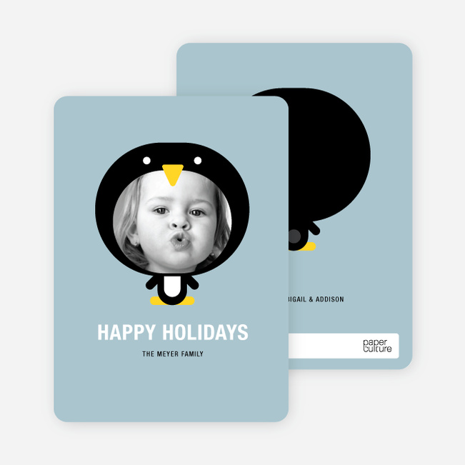 Penguin Face Holiday Cards - Dusty Blue