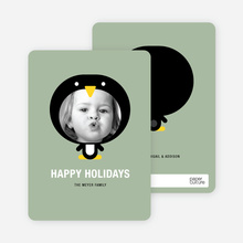 Penguin Face Holiday Card - Sage