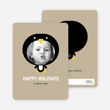 Penguin Face Holiday Card - Sand
