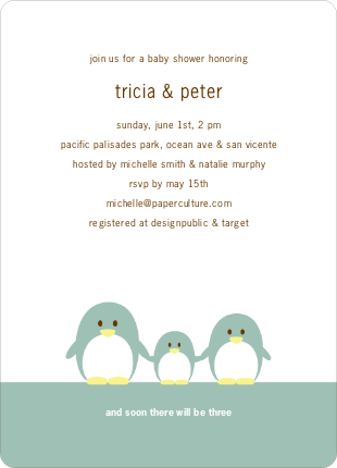 Penguin Family Baby Shower Invitations - Celadon