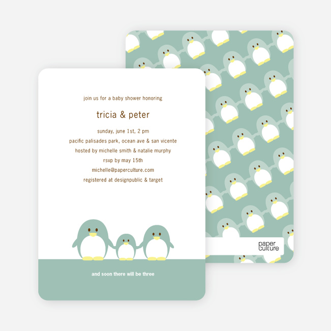 penguin family baby shower invitations  paper culture, Baby shower invitations
