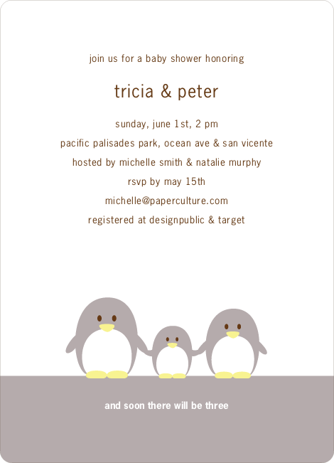 Penguin Family Baby Shower Invitations - Silver Grey