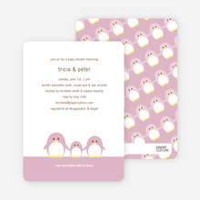 Penguin Family Baby Shower Invitations - Tea Rose