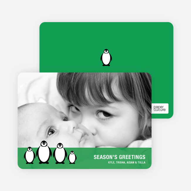 Holiday Photo Cards: Penguin - Kelly Green
