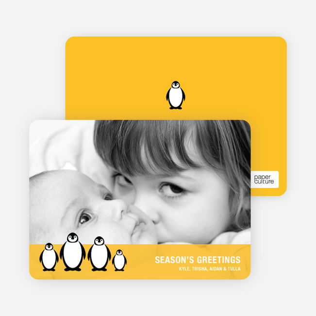 Holiday Photo Cards: Penguin - Mustard Yellow