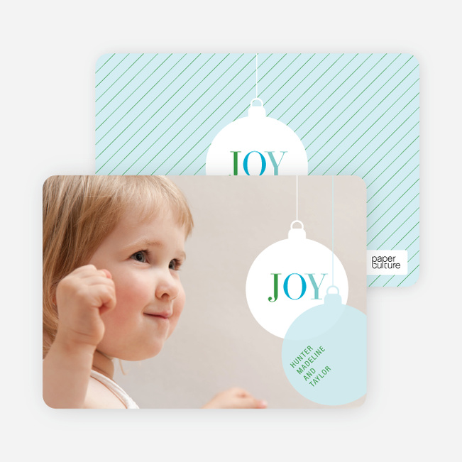 Photo Holiday Ornament Christmas Card - Airy Sky