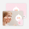 Photo Holiday Ornament Christmas Card - Pale Pink