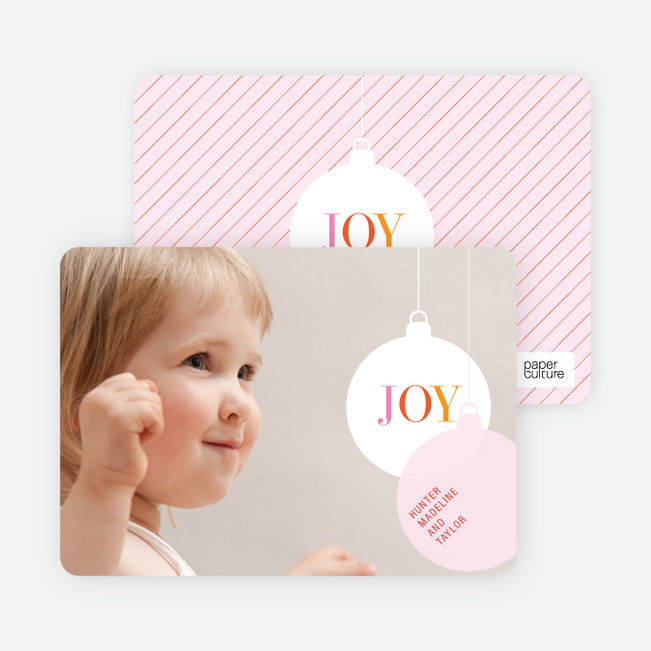 Photo Holiday Chritsmas Cards: Ornaments - Pale Pink