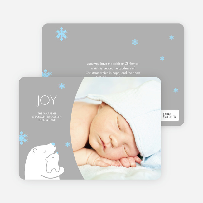 Polar Bear Joy Holiday Photo Cards - White