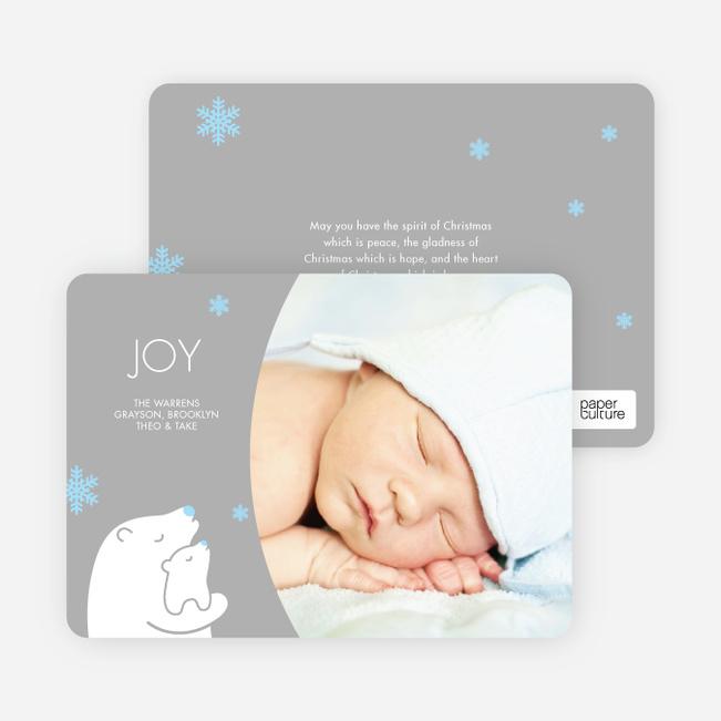 Polar Bear Joy Holiday Photo Cards - White