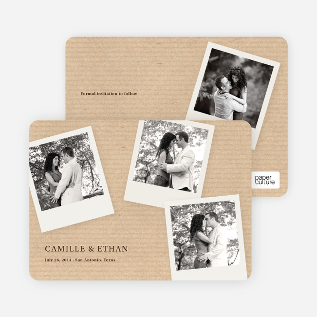 Instant Photo Save the Date Cards with 4 Photos - Brown Corrugate