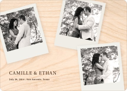 Polaroid Save the Date Cards with 4 Photos - Plywood
